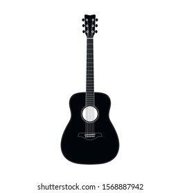 Flat style realistic acoustic guitar icon shape silhouette. Music instrument logo symbol sign. Vector illustration image. Isolated on white background.