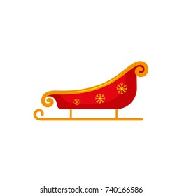 Flat style red and gold colored Santa sleigh, Christmas icon, greeting card element, vector illustration on white background. Santa sleigh, flat style Christmas icon, decoration element