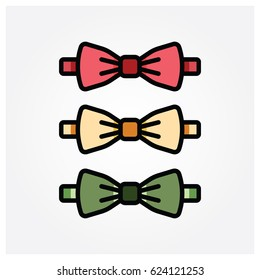 Flat style red, yellow and green color bowtie icons. Vector illustration.