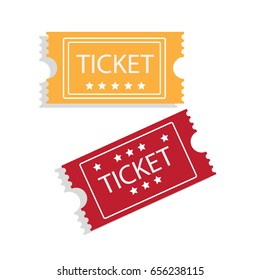 Flat style retro film, event, theater, cinema entrance ticket. Vector illustration.