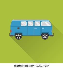 Flat style retro minivan car icon with long shadow. Camper bus symbol on green background,