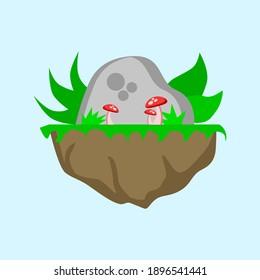 flat style rock, mushroom and grass illustration design. illustration design for template