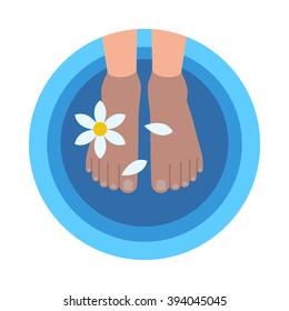 Flat style round banner with female feet in bowl filled with warm water and flower petals at professional spa and pedicure procedures isolated concept vector illustration