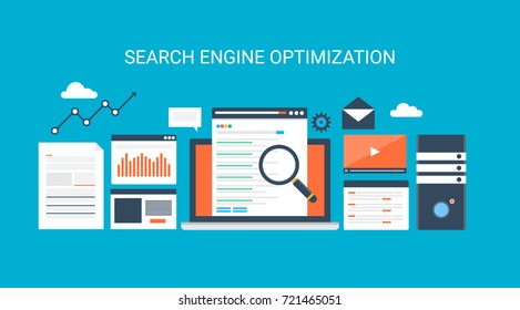 Flat style Search engine optimization, SEO vector concept with icons