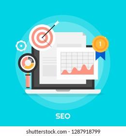 Flat style SEO, Search Engine optimization, Ranking, Analysis vector illustration