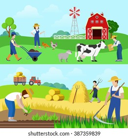 Flat style set farm profession worker people web banner hero image vector. Farmer stockbreeder grazier chicken breeder agriculturist harvester scythe mow hay mower tractor. Creative people collection.