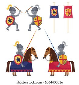Flat style set of knights on horses and knights fighting in collection with colorful banners.