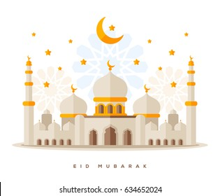 Flat style Sheikh Zayed Grand Mosque  isolated on white background. Traditional arabesque ornament, crescent and stars. Vector Illustration. Eid Mubarak greetings. Ramadan Kareem.