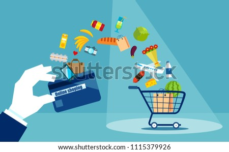 ad59d337ac1 Flat style of shopping cart with products and credit card of loyalty on  blue background