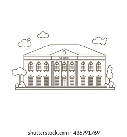 Flat Style Simple Vector Illustration Of School Building