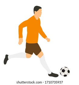 flat style soccer player with a ball
