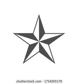 Flat style Star shape silhouette icon button. Feedback, ranking quality sign symbol. Vector illustration icon. Isolated on White background. Western,nautical stars logo.