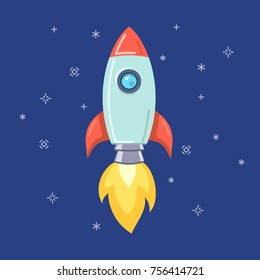 Flat style startup rocket. Vector illustration.