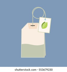 Flat style tea bag icon  with green leaf on a label. Vector graphics.