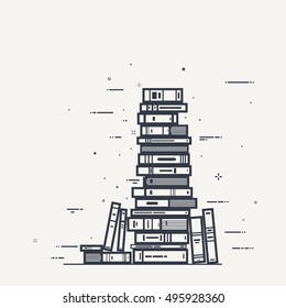 Flat style, thick and thin line design concept art. Pile of books and magazines with black lines and sparks.