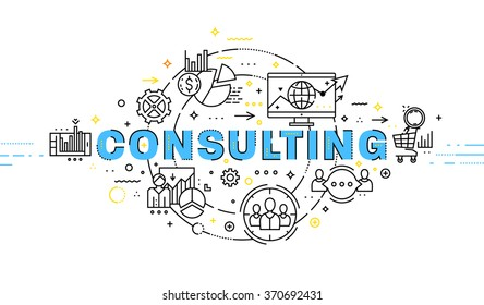 Flat Style, Thin Line Art Design. Set of application development, web site coding, information and mobile technologies vector icons and elements. Modern concept vectors collection. Consulting Concept.