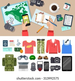 Flat style travel blog icon set. Top view table. Camera lens notes tablet smart phone clothes speedlight laptop backpack binocular money passport ticket lighter cigarette. Holiday vacation concept.
