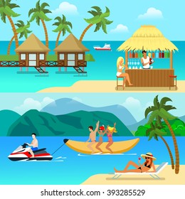 Flat style tropical resort activity website banner hero image set. Sexy blonde on beach bar bungalow. People water banana boat riding having fun.