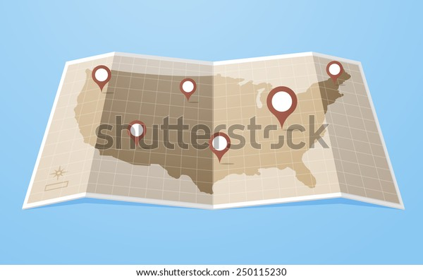 Flat Style United States America Map Stock Vector (Royalty ...