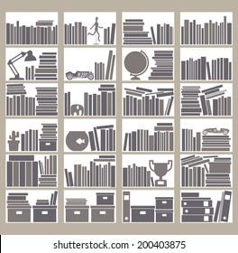 Flat style vector bookshelf