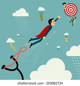 Flat style vector businessman growth. Man on catapult prepare shooting to success goal concept. New business banner. Graphic Design Editable For Your Design.