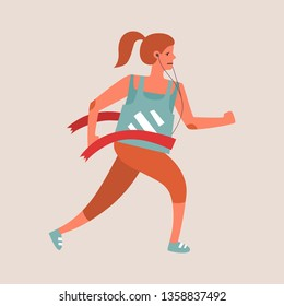 Flat style vector character of an athlete winning the race. Runnig woman illustration