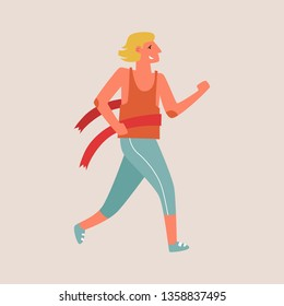 Flat style vector character of an athlete winning the race. Runnig man illustration