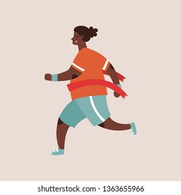 Flat style vector character of an athlete winning the race. Runnig curvy woman illustration