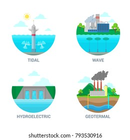 Flat style vector green alternative energy clean power station plant factory industrial web site icon set illustration. Tidal wave, hydroelectric, geothermal eco ecology energy source