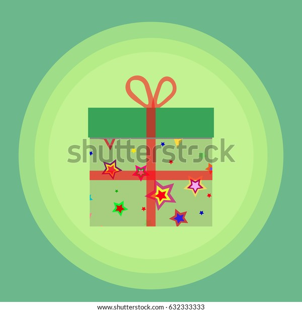 Flat style vector icon illustration of a gift box.