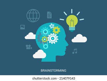 Flat style vector illustration brainstorming process concept. Human head silhouette with gear brain lamp light bulb idea in clouds. Big flat conceptual collection.
