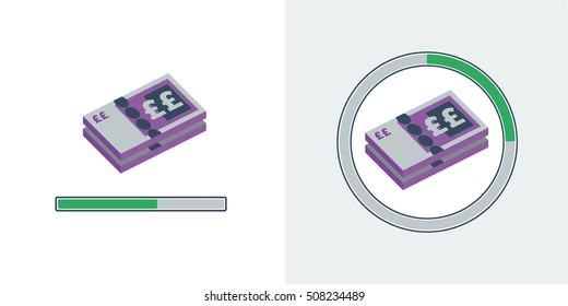 Flat style vector illustration of british bank notes with loading bars to represent accrual