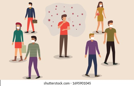 Flat style vector illustration of cartoon character man sneezing or cough in the crowd. People in face mask protect themself from germ. Fear of contagious disease. Anxiety about Wuhan corona virus.