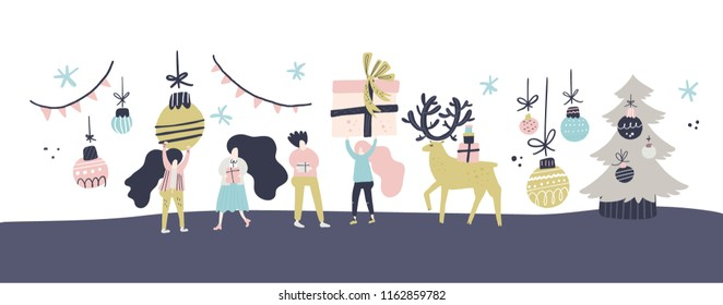 Flat style vector illustration of Christmas concept. Horizontal illustration of people preparing for New Year celebration.