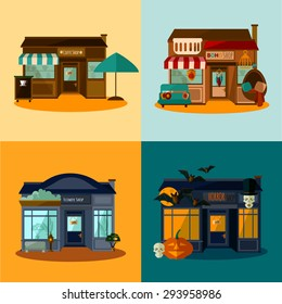 Flat style vector illustration concept of 4 different shops in vintage retro colors perfect for your design