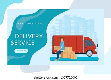 Flat style vector illustration delivery service concept. Taxi truck with young man holding box package, store,  shop shipping with sity background. Vector flat conceptuall design for web banner