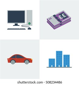 Flat style vector illustration of a desktop computer, british bank note, a car and buildings to represent business assets