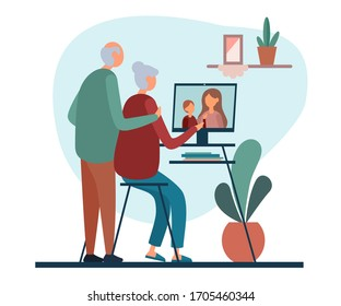 Flat style of vector illustration with elderly couple having video call with daughter and grandchild while staying at home on white background