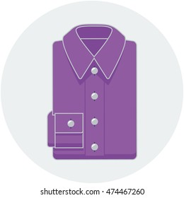 Flat style vector illustration of folded purple shirt in a circle.