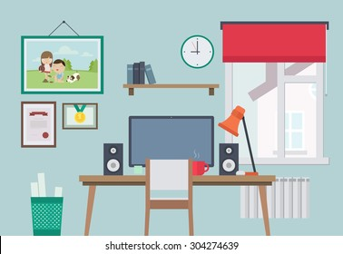 Flat Style Vector Illustration of Home Workplace. Workspace for Freelancer.