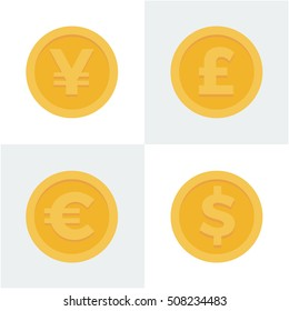 Flat style vector illustration of japanese yen, british pound sterling, euro and dollar coins
