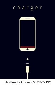 Flat style vector illustration. Mobile smartphones charging on dark blue background. Phone with a low battery charge and with USB connection.