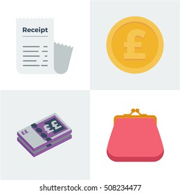 Flat style vector illustration of receipt, pound coin, british bank note and coin purse