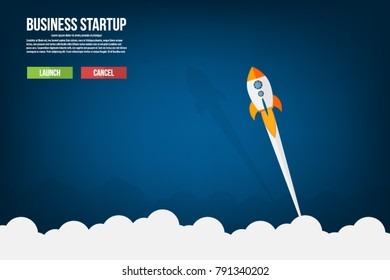 Flat style vector illustration of rocket flying above clouds, business startup banner concept.