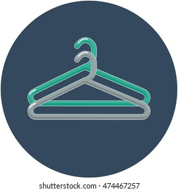 Flat style vector illustration of two clothes hangers in a circle.