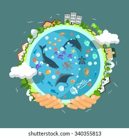 Flat style vector isolated illustration.. Earth day concept. Human hands holding floating globe in space. Save our planet. Solar, renewable energy
