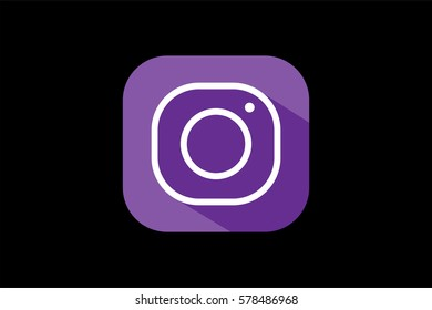 Flat style violet simple icon isolated on black. Vector illustration