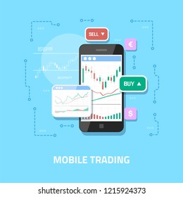 Flat style web banner design. Mobile stock trading concept, online trading, stock market analysis, business and investment, forex exchange.