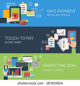 Flat style web banner modern online business payment security icon set. Safe checkout touch to pay marketing goal banners. Website click infographics elements collection.