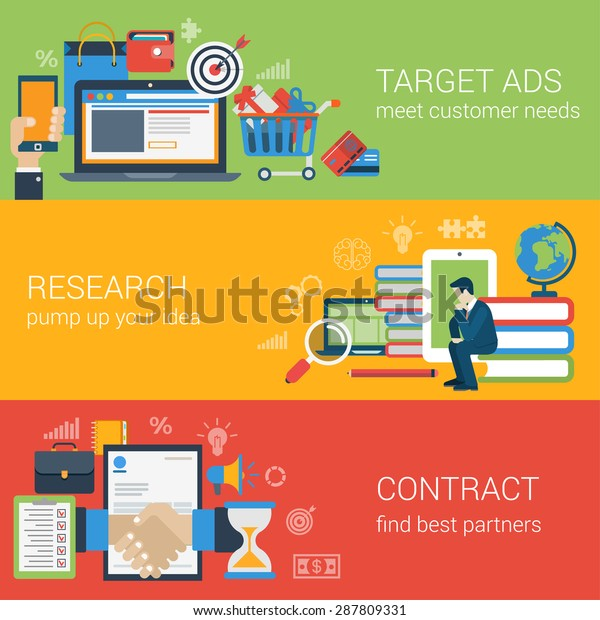 Flat style web banner modern digital marketing partnership icon set. Target advertising research idea knowledge education contract partners collage. Website click infographics elements collection.
